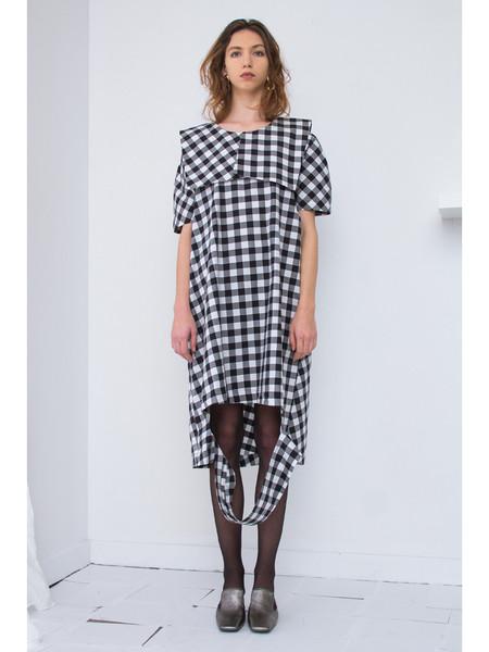 Nancy Stella Soto Gingham Cut Out Dress - Black