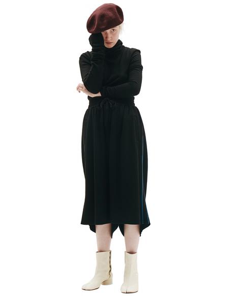 Y's Black Wool Jersey Shorts