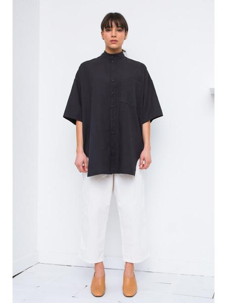 ECKHAUS LATTA Short Sleeve Button Down - Soft Black