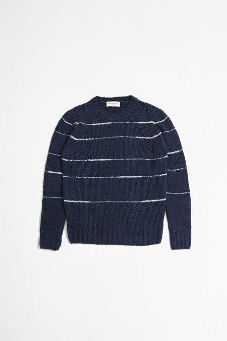 Officine Generale Marco Irregular Stripe Sweater - Navy/Ecru