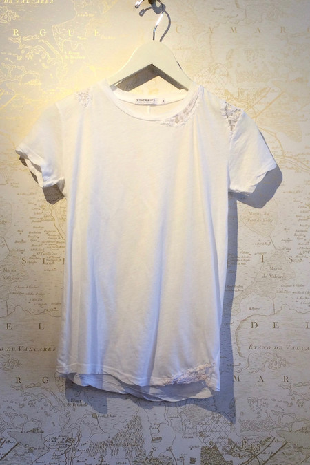 Stateside Cotton Slub Tee with Lace Detail