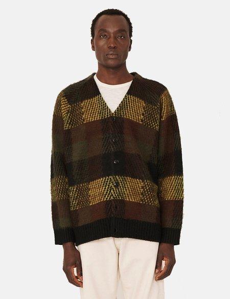 YMC Left Back Knit Wool Blend Check Cardigan - Brown