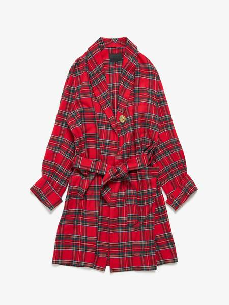 [Pre - Loved] 99%Is U Belted Check Flannel Robe - Red