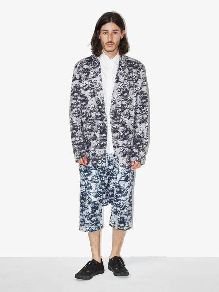 PRE-LOVED Comme Des Garcons Homme Plus Skulls and Flowers Printed Suit Jacket - gray