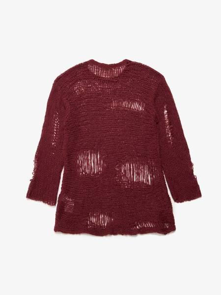 Yohji Yamamoto M Bordeaux Distressed Alpaca Woven Sweater