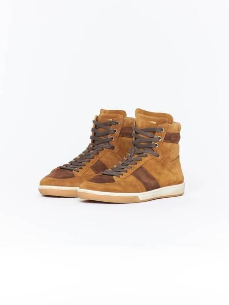 Saint Laurent Paris SL10H High Top Suede Sneakers - Tan