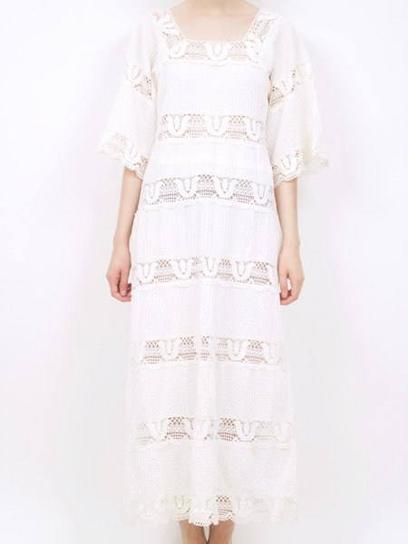 Vintage 60s Lace Inlay Maxi Dress