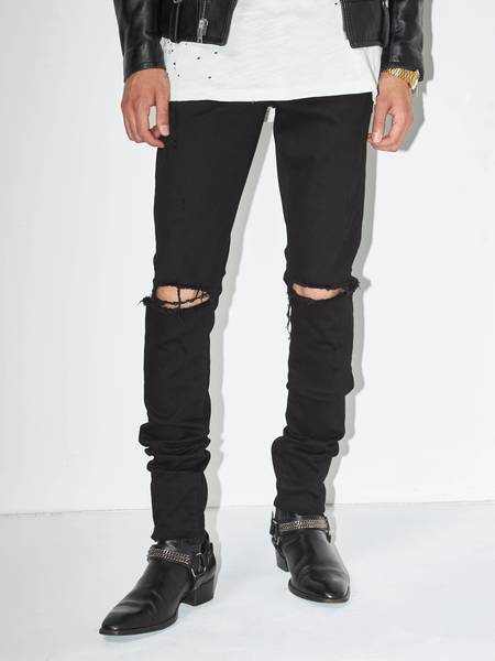 pre-loved Saint Laurent Paris Distressed Knees D01 Jeans - black
