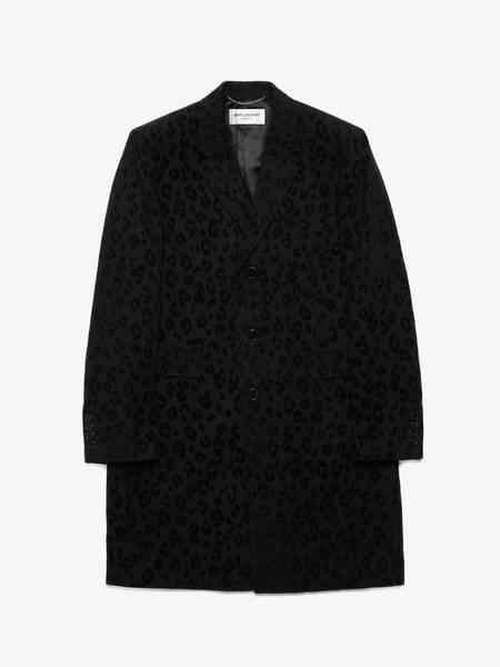 [Pre-Loved] Saint Laurent Paris Male Black Leopard Printed Wool Coat