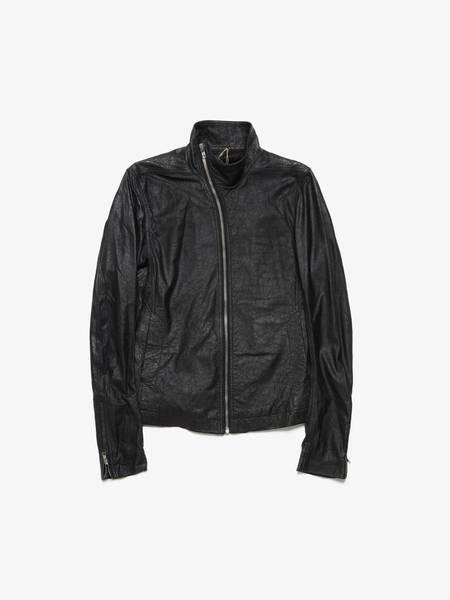 Rick Owens Black Asymmetric Collar Crinkled Leather Jacket