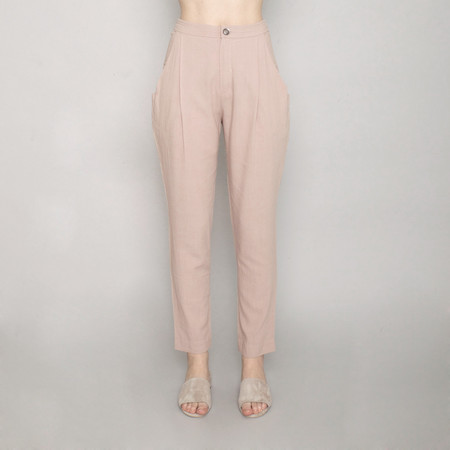 7115 by Szeki Gathered Linen Trouser - Beige - SS17