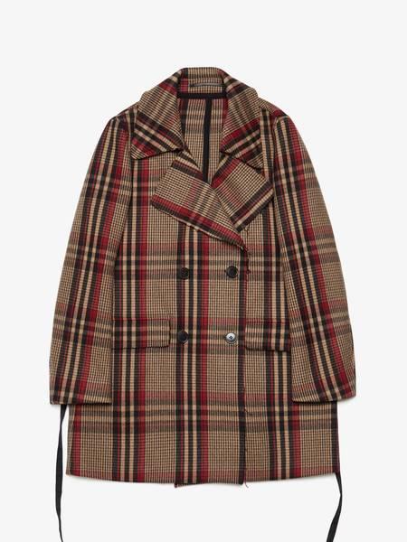 PRE-LOVED Dries Van Noten Checked Double Breasted Wool Coat - brown/purple/black