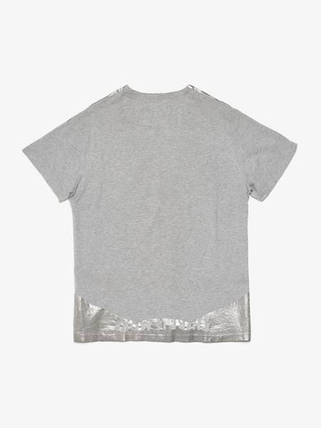 PRE-LOVED Maison Margiela V Neck Silver Collar Cotton T-Shirt - gray