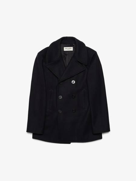 PRE-LOVED Saint Laurent Paris Double Breasted Wool Coat - navy