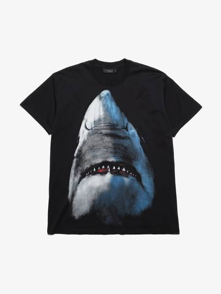 [Pre-Loved] Givenchy Male Black Shark Printed Oversized Cotton T-Shirt