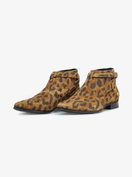 [Pre - Loved] Saint Laurent Paris Cropped Jodhpur Boots - Leoprint