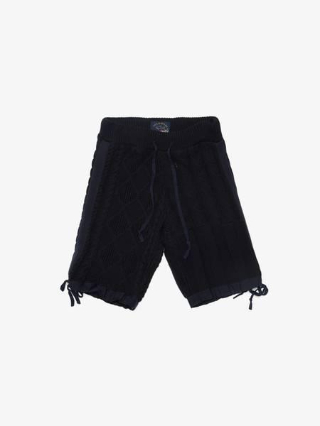[Pre Loved] Greg Lauren X Paul & Shark Knitted Cotton Shorts - Navy