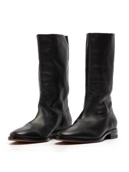 PRE-LOVED Saint Laurent Paris Officer Side Zip High Leather Boots - black