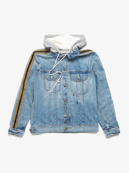 Greg Lauren Hooded Contrast Trimmed Cotton Blend Denim Jacket - Blue