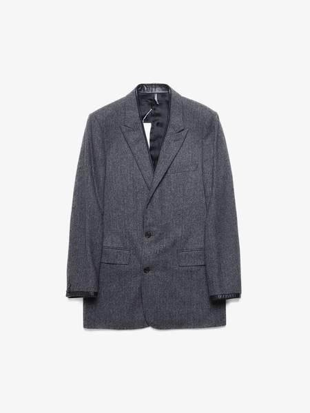 [Pre Loved] Dior Herringbone Print Leather Collar Detailed Wool Blazer Jacket - Gray