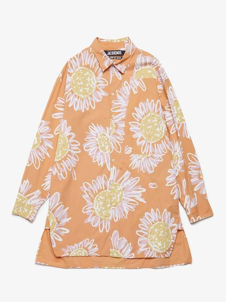 [Pre - Loved] Jacquemus Male Flower Printed Oversized Cotton Shirt - Orange