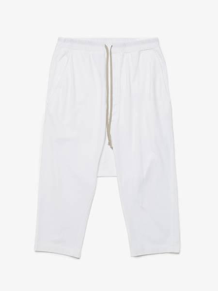 Rick Owens Drkshdw M White Drop Crotch Cotton Pants