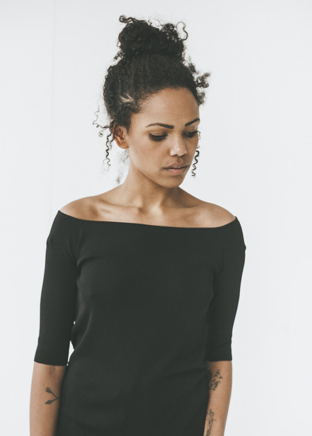 Achro - Off The Shoulder Knit Top in Black