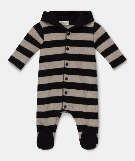 Kids My Little Cozmo Charlie Striped Footie Jumpsuit - Beige/Black