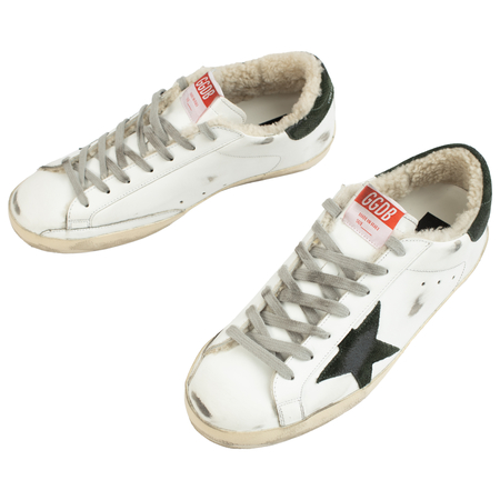 Golden Goose Leather Fur Superstar Sneakers - White
