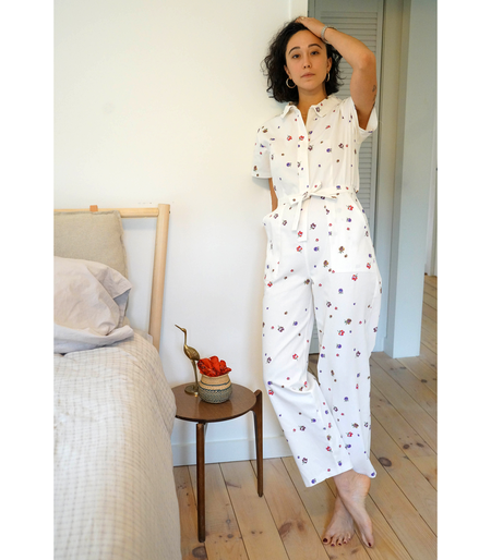 Loup NY Floral Patty Worksuit - WHITE