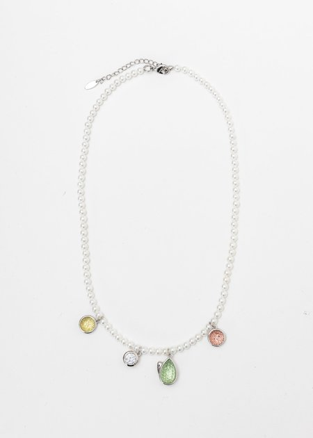 DEPARTMENT Pearl and Multi Tulip Necklace - White Gold