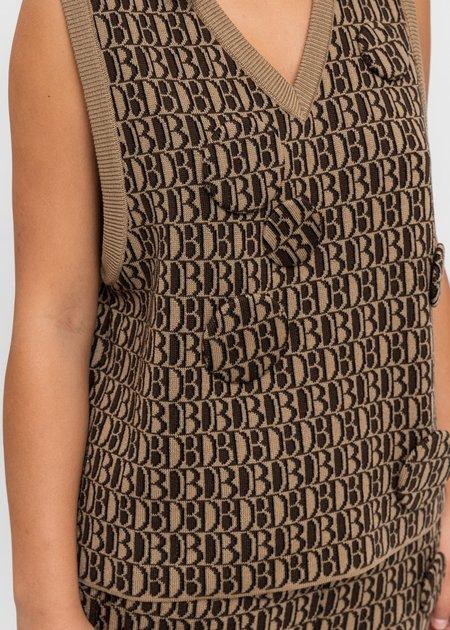 Doublet Monogram JQ Knit Vest - Beige