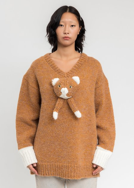 Doublet Stuffed Cat Hand-Knitting Pullover - Camel