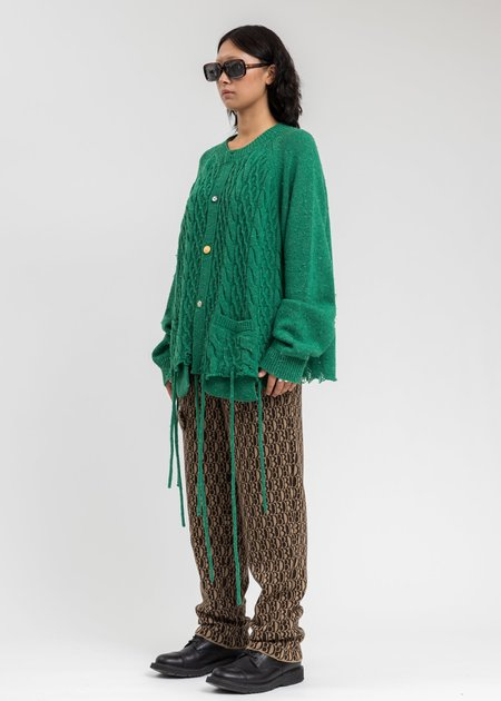 Doublet Recycle Wool Cable Cardigan - Green