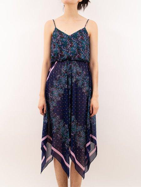 Vintage Erin Templeton 70's handkerchief disco dress - navy