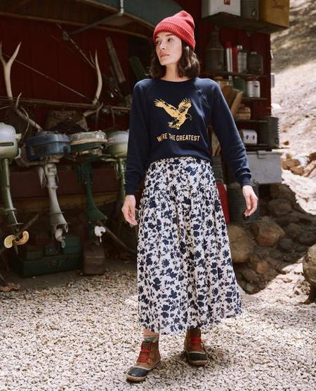 The Great. The Shrunken Sweatshirt with Eagle Graphic - True Navy