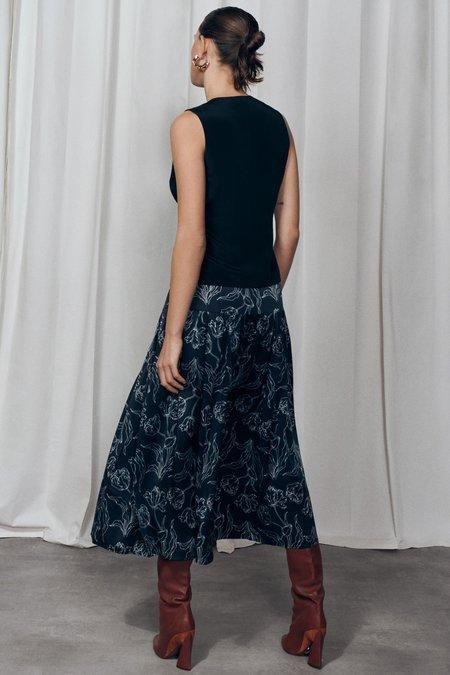 Silk Laundry 80's Silk Skirt - Black Tulips