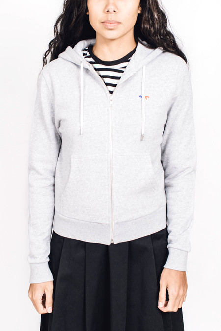 Maison Kitsune Zip Hoodie Light Grey