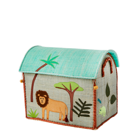 Rice Small Toy Basket - Jungle Blue Design