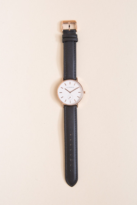 The Horse Classic Leather Watch - Rose Gold/Black Leather