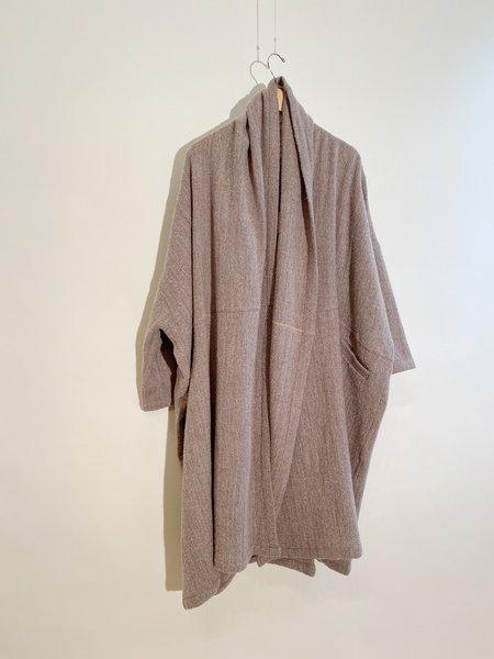 Atelier Delphine Haori Long Herringbone Coat - Beige Herringbone