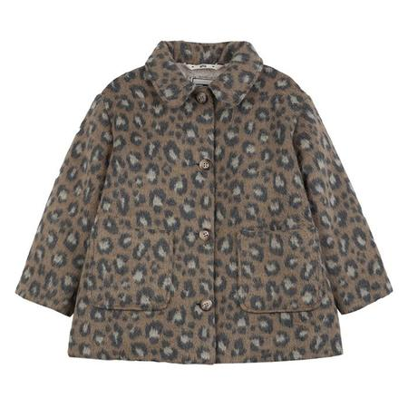 Kids Bonton Child Daniel Coat - Camel Brown Leopard Print