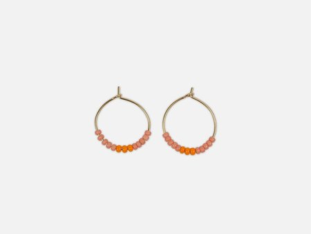 Folkdays x El Puente hoops with glass pearls Earrings - orange/pink