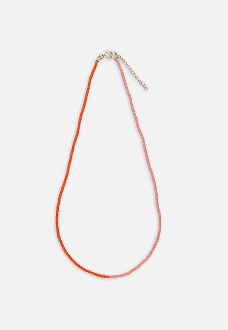 Folkdays x El Puente with glass pearls necklace  -  Orange/pink