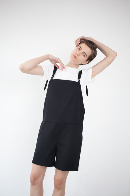 Baserange Short Strap Overall in Black