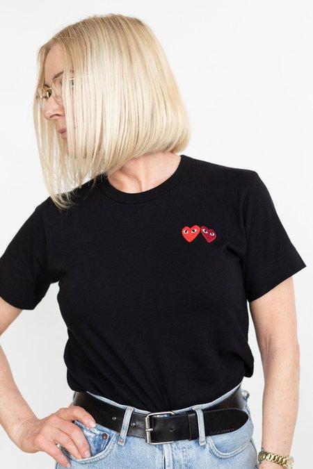 Comme des Garçons Double Heart Patch T-Shirt - Black