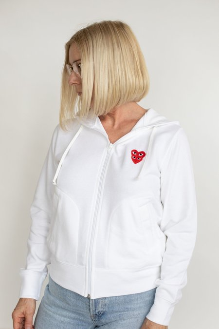Comme des Garçons Double Heart Zip-Up Sweatshirt - White