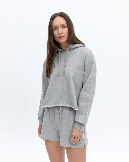 Reigning Champ Lightweight Terry Cut-Off Hoodie SWEATER - GRAY