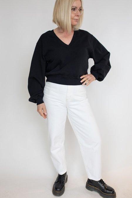 AGOLDE V-Neck Balloon Sleeve Sweatshirt - black