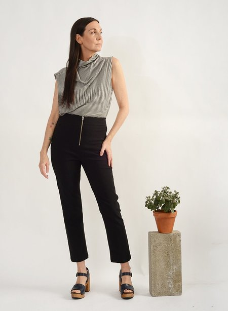 Meg Zip Front Pegged Pant - BLACK